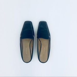 Ann Taylor Black Leather Loafer Mules Size 8.